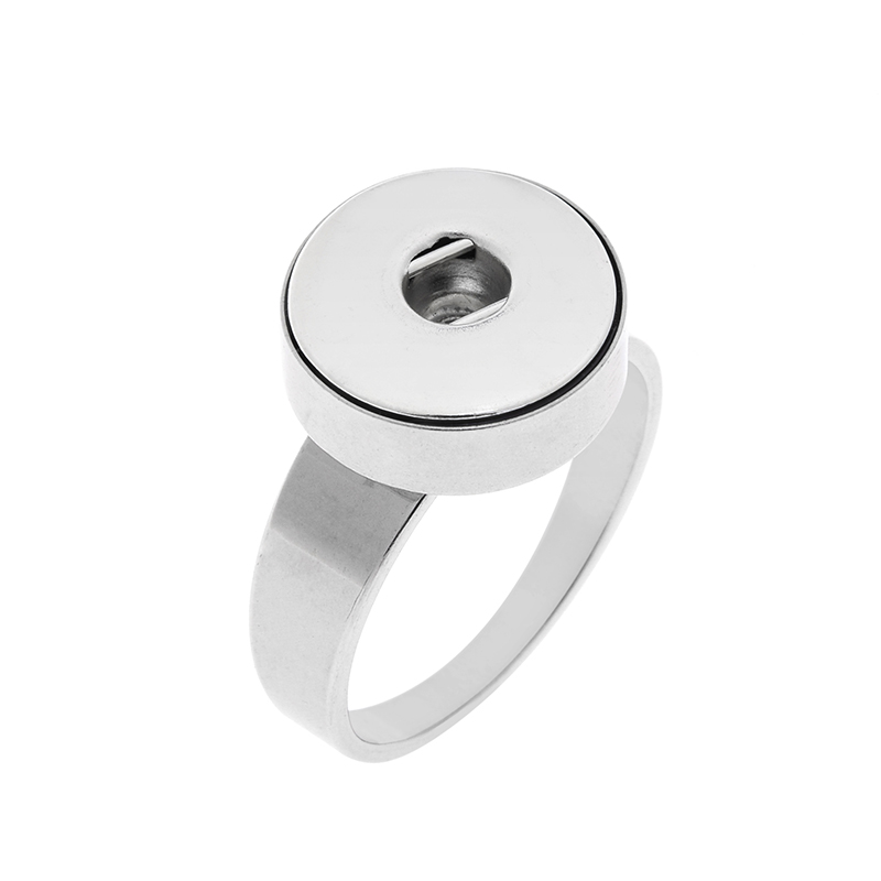 10pcs stainlesss steel 12mm snap button ring size 7-10 rings for button snap charm jewelry image