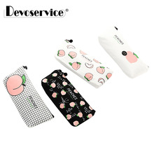 1Pc New Cute Peaches Canvas School Pencil Cases Stationery Pencilcase Kawaii Pen Bag Pouch For Girls Pencil Case School Supplies pencil case new pencilcase box supplies pouch pen boxes for school kids kawaii pencil cases pouch bag to school canvas bags boys