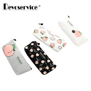 1Pc New Cute Peaches Canvas School Pencil Cases Stationery Pencilcase Kawaii Pen Bag Pouch For Girls Pencil Case School Supplies kawaii small fresh canvas zipper pencil cases kawaii dot fashion for women school supplie stationery bag