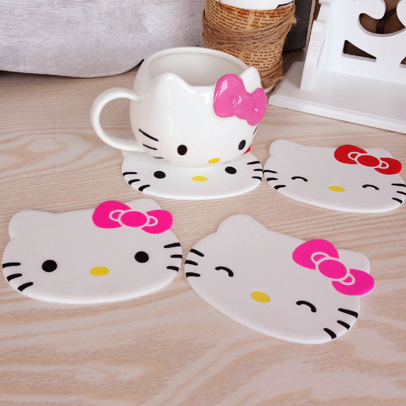 Hello Kitty Kitchen Accessories: Cartoon 1PCS Silicone Drink Pads Dining Table Placemat