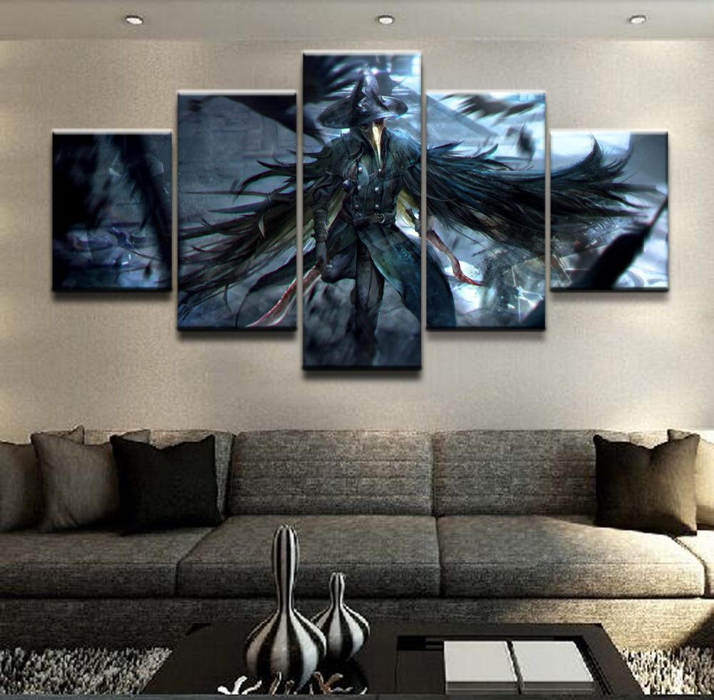 Wall Canvas Art Poster Frame Room Home Decor 5 Pieces Bloodborne Crow Dagger Warrior Pictures Painting Modern HD Printed Photo