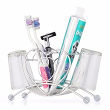 Shower Room accessories stainless steel toothbrush holder tooth tube razor bathroom toothpaste storage