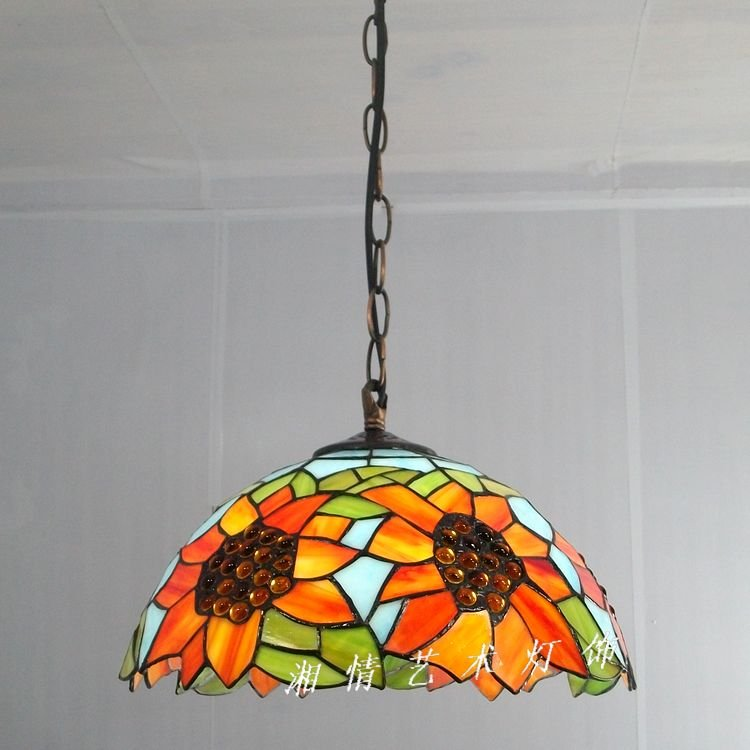 12 inch sunflower pendant Tiffany lamps restaurant table lighting pastoral American Bar Cafe Kitchen glass lamp manufacture in 12 inch simple european style modern restaurant droplight tiffany glass lighting mahjong table mediterranean balcony lamp