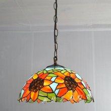 12 pulgadas girasol colgante Tiffany lámparas restaurante iluminación de la mesa pastoral American Bar Cafe cocina de la lámpara cristal fabricación en