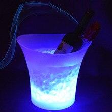 Красочные светящееся ведерко для льда 5L Водонепроницаемый шампанское бар ведро со льдом для пива светодиодный круглый пластиковое ведерко для льда принадлежности для барной вечеринки