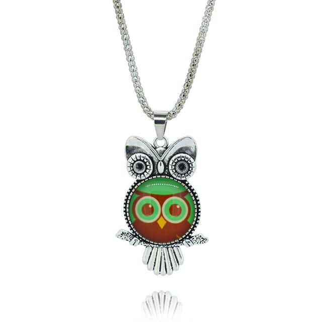 HOT – Owl pendant necklace glass cabochon