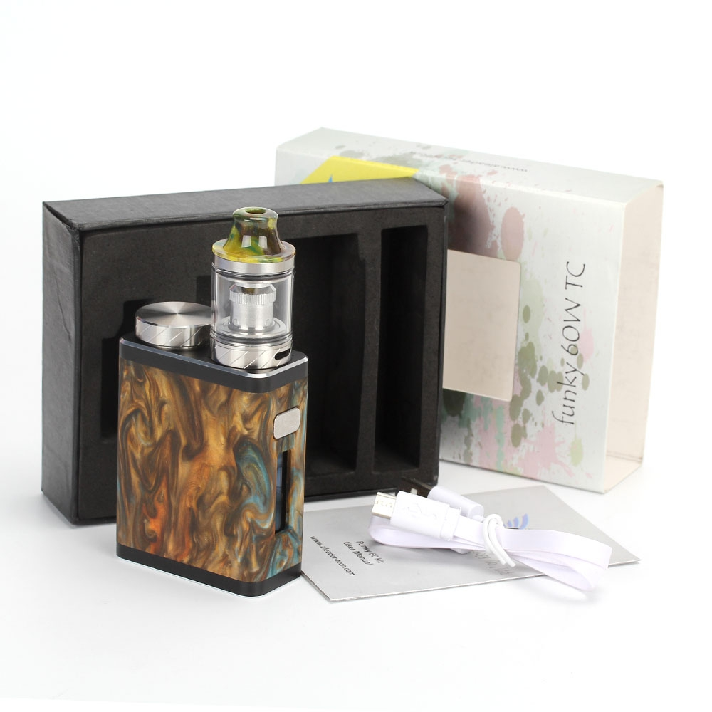 Original Aleader Funky 60W Kit Tech Mini Resin Box Mod Chip VW Vape Mode Squonk Bottle Electronic Cigarette Tank