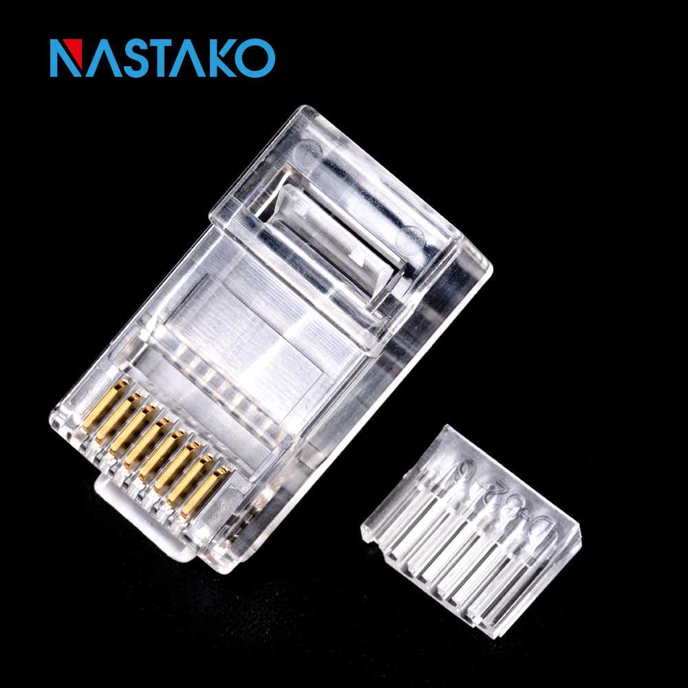 NASTAKO 50/100 adet Cat6 RJ45 konektörü UTP kablo ethernet jakı 8P8C ağ kedi 6 modüler fişler ile 6.5mm RJ45 kapaklar