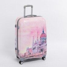 Female 28 inch pink pc hardside trolly luggage bag on universal wheels,8 wheels palace travel case,fairy tale Palace duffle bag