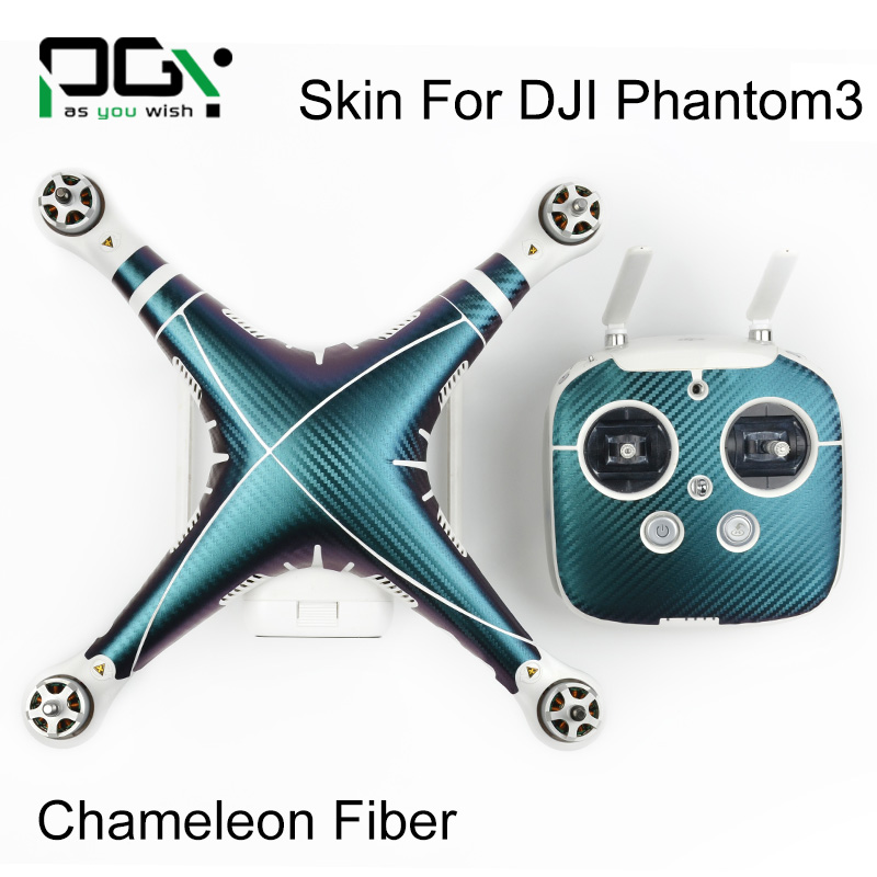 PGY 5D Carbon fiber sticker for DJI Phantom 3 accessories 3M Waterproof Wrap skins decals labels