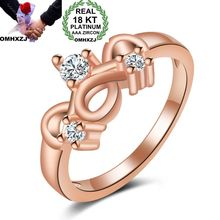 OMHXZJ Wholesale Personality Fashion Woman Girl Party Wedding Gift Rose Gold Luxury AAA Zircon 18KT Ring RN43