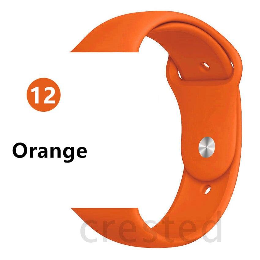 Силиконовый ремешок для apple watch 4 5 44 мм/40 мм спортивный ремешки для apple watch 3 42 мм/38 мм резиновый ремень браслет ремешок для часов apple watch Band Мягкий красочный ремешок iwatch series 4 3 2 1 - Цвет ремешка: Orange