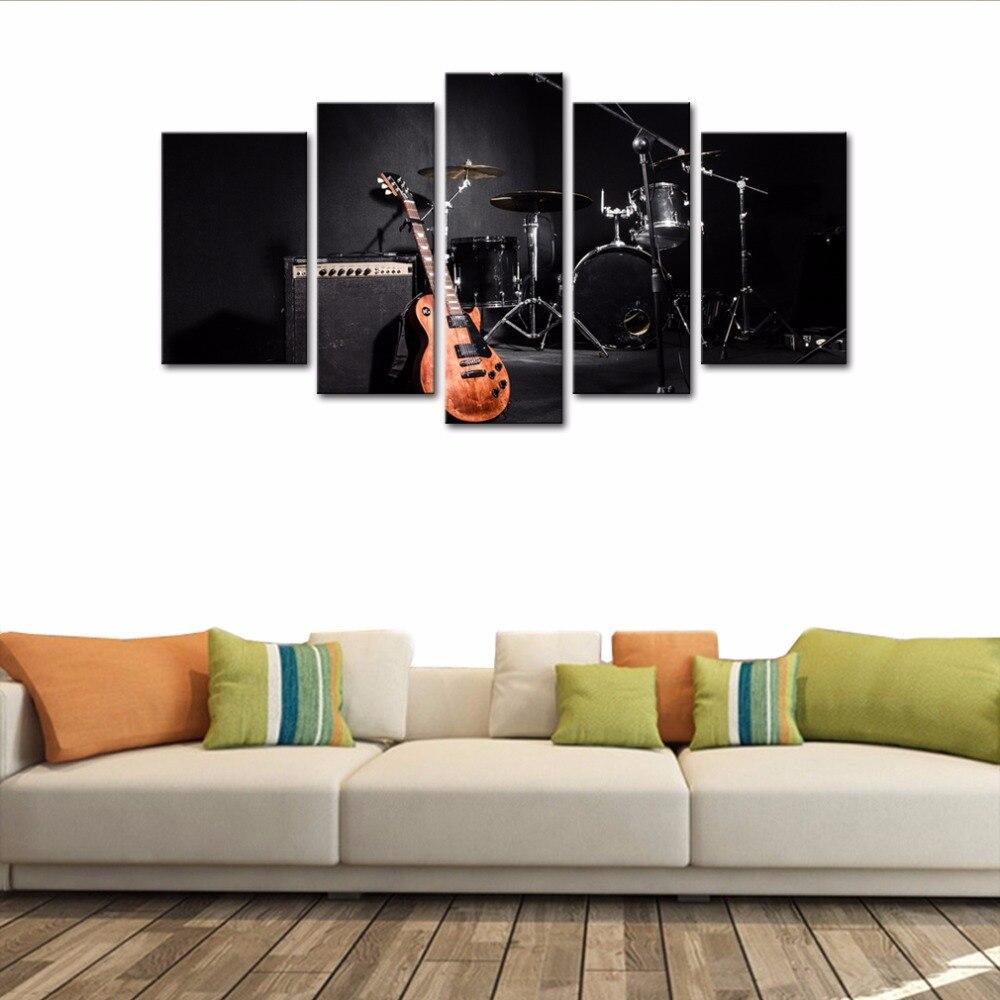 Canvas Print Wall Schilderijen 5 Panelen Gitaar en Drum Set Muziek ...
