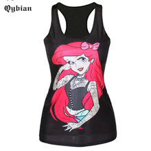 2016 Augfive Women Sexy Black Tank Tops Mermaid Printing Camis Sleeveless Short Summer Tops Camisas Femininas
