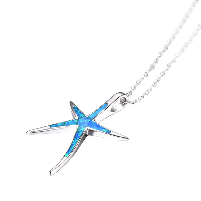 925 Sterling silver Women Charm Star Fish Pendant Sweater Necklace Jewelry Ornam
