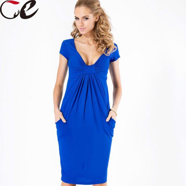Profundo Escote en v vestido de verano sexy para las mujeres fold diseño nuevo estilo de la llegada del verano vestido lápiz hasta la rodilla de colores vestido