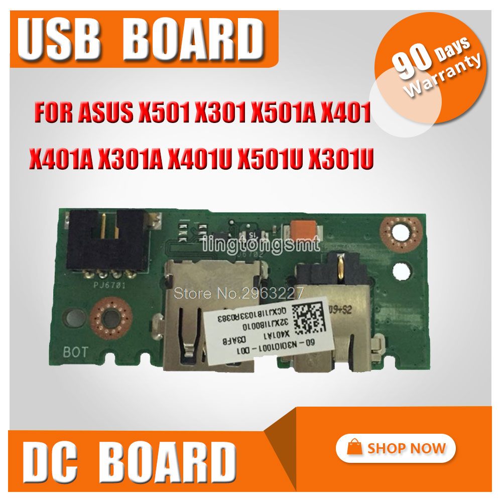 IO BOARD FOR ASUS X501 X301 X501A X401 X401A X301A X401U X501U X301U DC POWER JACK USB SMALL BOARD Original free shipping laptop keyboard for asus x501 x501a x501u black without frame italian it mp 11n66i0 920w 0knb0 6103it00