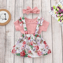 OKLADY 2019 Summer Newborn Baby Girl Floral Clothes Set Pink Romper Suspender Dress Bow Headband