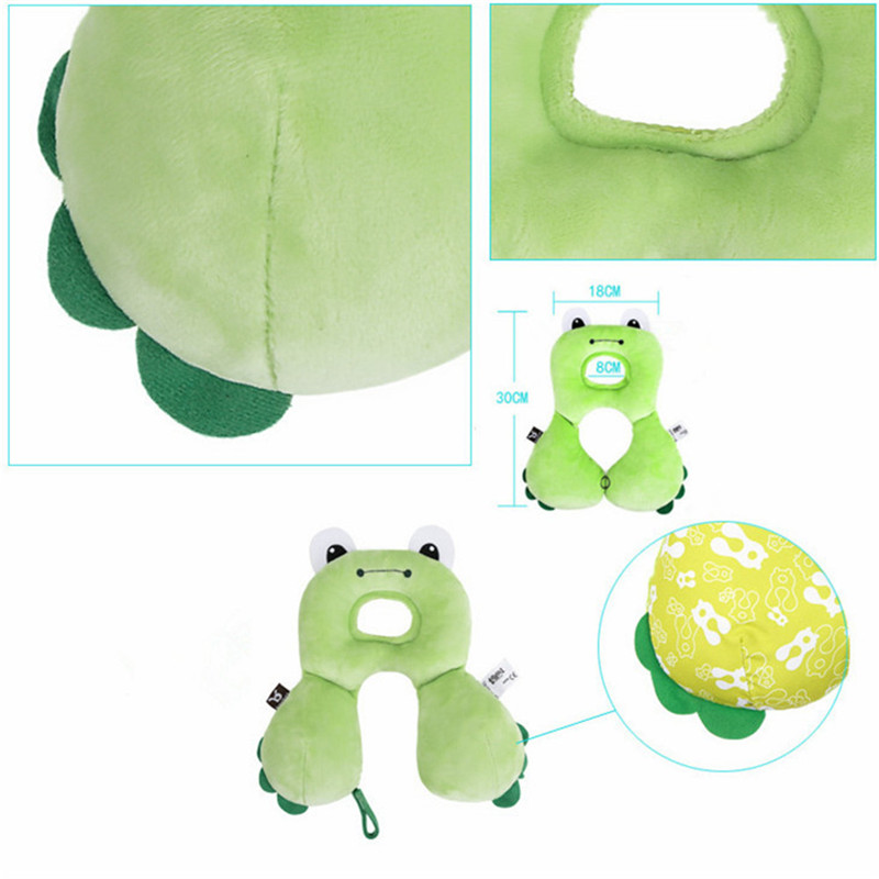 Green Frog Baby Travel Pillow Baby Neck Support Pillow for Toddlers Car Seat to Protect Babys Head and Neck Soft Polyester