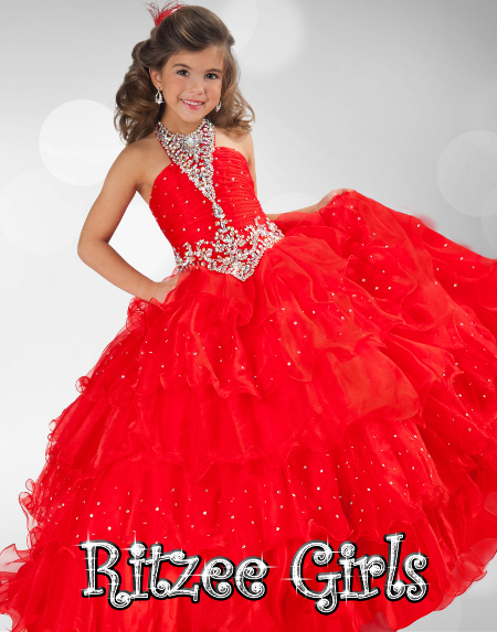 217a6a4d2 Cabestro Vestidos Del Desfile Para Chicas Glitz Puffy Rojo de Organza de  Cristal Rebordear la Longitud del Piso Niñas para Niños Vestido De Fiesta  Vestido ...