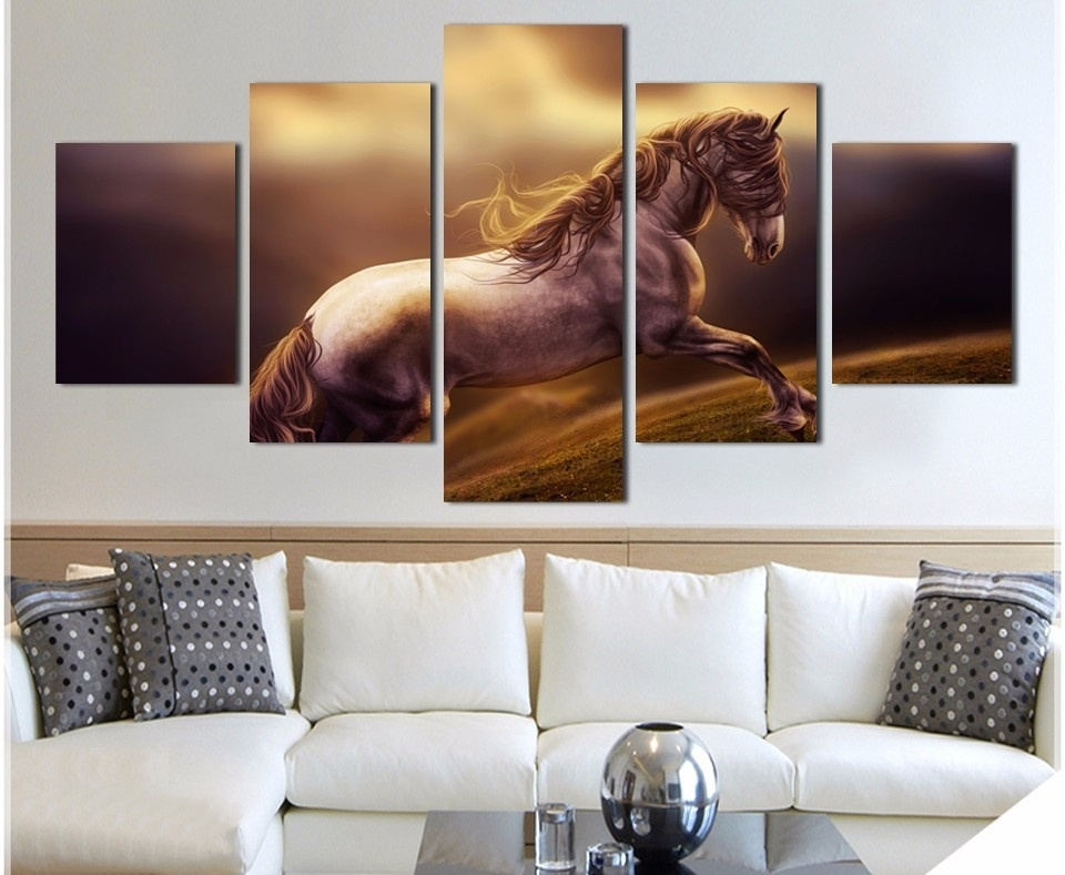 Abstract 5 Panel Canvas Art Gray Running Horse Paintings Home Wall Decoration Unframed HD Printed Pictures For Living Room