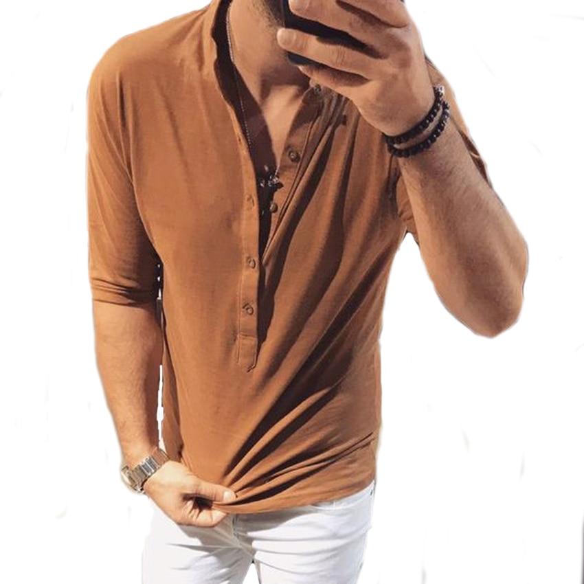 ede1c2ac912d Men Stylish Mid Sleeve TShirt Summer Solid Deep V Collar T Shirt ...