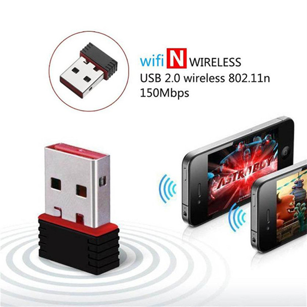 Image 2 - Mini USB 2.0 802.11n Standards 150Mbps Wifi Network Adapter Support 64/128 bit WEP WPA Encryption for Windows Vista MAC Linux PC-in Network Cards from Computer & Office