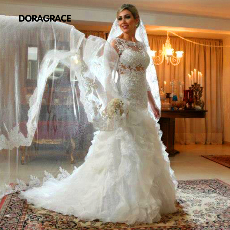 Gorgeous Applique Lace 3/4 Sleeve Mermaid Wedding Dresses Organza Ruffles Bridal Gowns Vestido De Noiva Dg0048 Weddings & Events