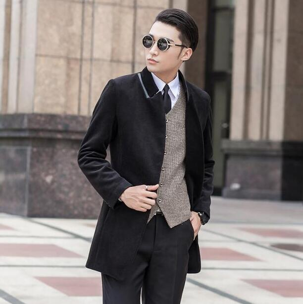 Casaco Coat Breasted Trench Single Men Masculino Wool qrwEBUq