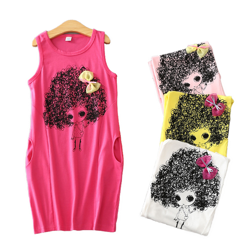 Cute Kids Girls Summer Cartoon Princess Dress Sleeveless Chidren Bowtie Clothing with Pockets BM88