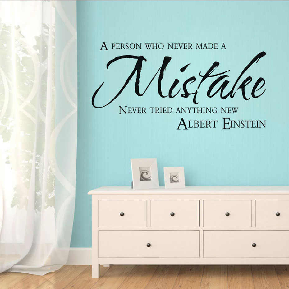Wall Art Decals A Person Who Never Made A Mistake Never Tried Anything Wall Sticker For Living Room Bedroom Adhesive Wallpaper