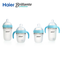 Haier Brillante Baby silicone Bottle Feeding Blue 240ml(8oz) 150ml(5oz) baby milk feeding Silica Gel bottle with handle