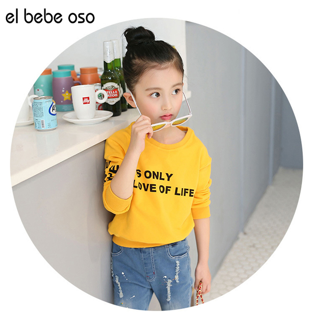 New Kids Girls Sweatshirts Spring Autumn Letter Casual Solid Color Cotton Long Sleeve Shirts Children's Girls Clothing XL692