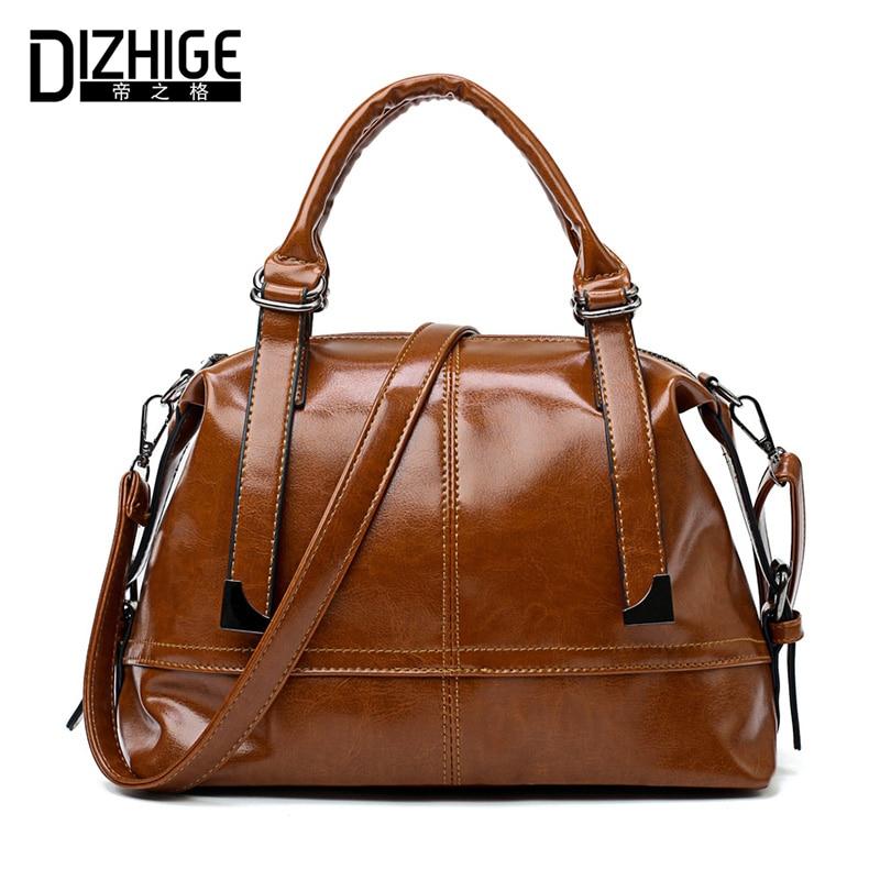 DIZHIGE Brand Vintage Oil PU Leather Women Handbags High Quality Shoulder Bag Women Designer Ladies Hand Bags Solid Sac 2018 New