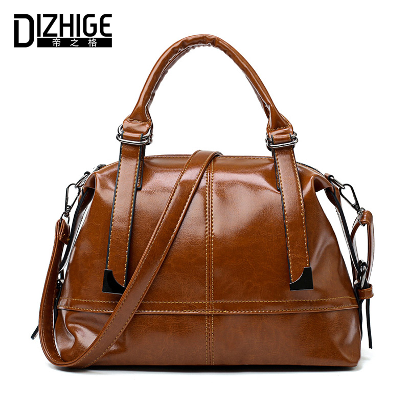 DIZHIGE Brand Vintage Oil PU Leather Women Handbags High Quality Shoulder Bag Women Designer Ladies Hand Bags Solid Sac 2018 New