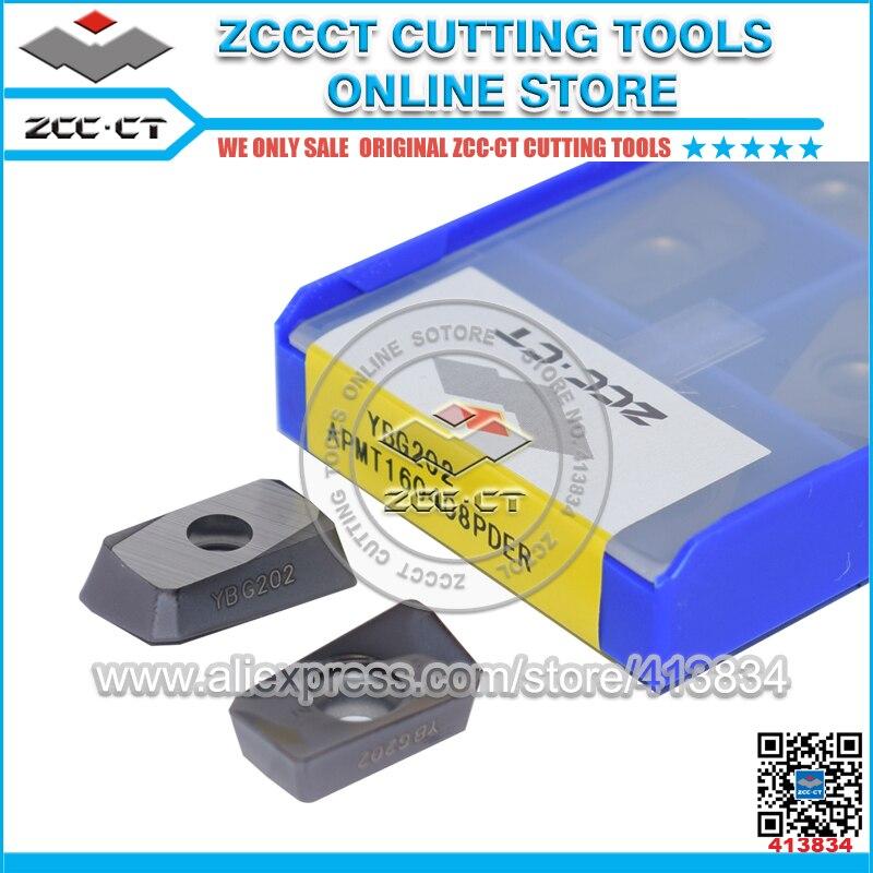 10pcs ZCCCT Carbide Milling Cutter APMT160408PDER YBG202 APMT1604 ZCC Insert APMT160408 APMT1604PDER For Steel Stainless Steel