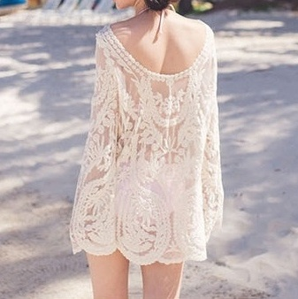 Best Selling Lady Tunic Sexy Swimsuit Bikinis Cover Up Cotton Blouse Pareo New Women Lace Beach Swimwear Cover Up Sarongs Tunic image