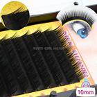 1 лоток 12 рядов 0.10C завиток черный длинный шелк роскошные индивидуальные накладные ресницы наклад ★