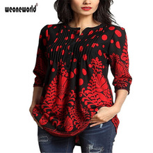 WEONEWORLD Retro T shirt women floral shirts three quarter sleeve O neck vintage pleated blouse ladies casual women tops(China)