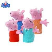 4pcs Genuine Peppa Pig 25cm Kawaii Plush Cartoon Kids Toys for kids Children Baby Birthday Christmas Gift Hand Finger Puppets