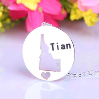 Personalized State Charm Necklace Monogrammed Sterling Silver State Necklace I Heart Idaho State Shaped Pendant State