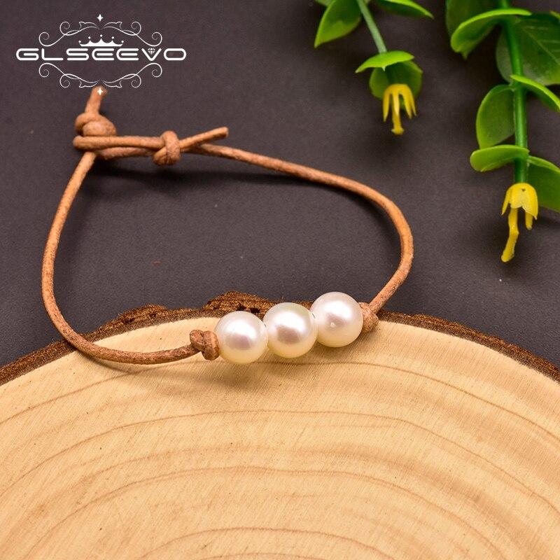 Купить glseevo настоящий жемчужный белый кожаный браслет для женщин