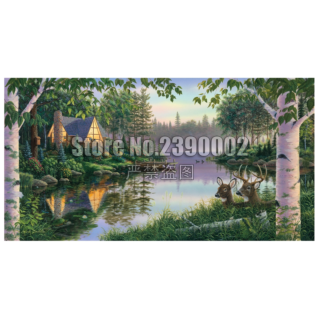 Paradise Bay DIY Diamond painting Cabins,Cottages,Houses Full embroidery Lakes & Rivers Cross Stitch Rhinestone Mosaic
