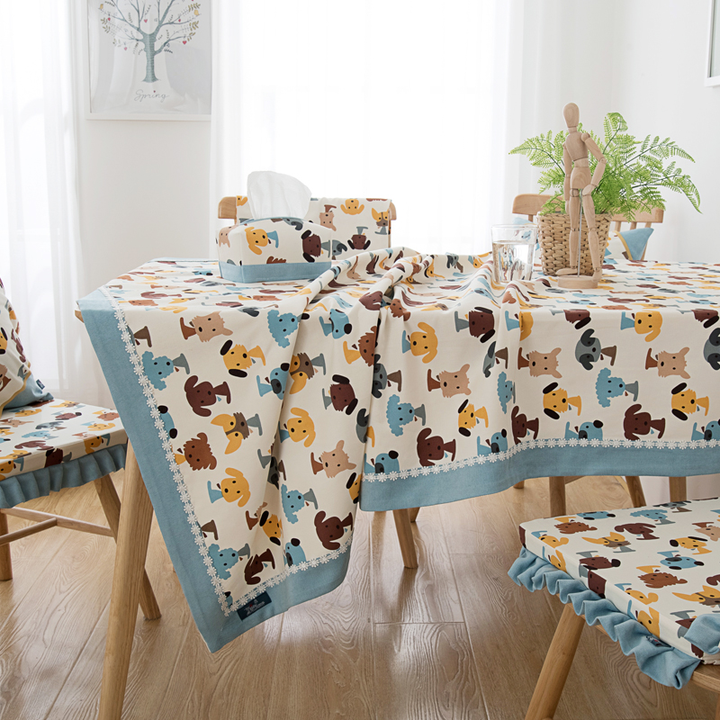 Idyllic Style Cute Cartoon Puppy Tablecloth Nordic Tablecloth Small