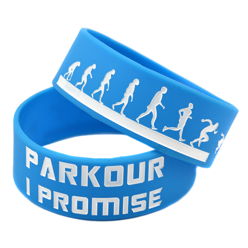 OneBandaHouse 1PC 1 Inch Wide Parkour I Promised Motivation Silicone Wristband for Sport Fans Bracelet