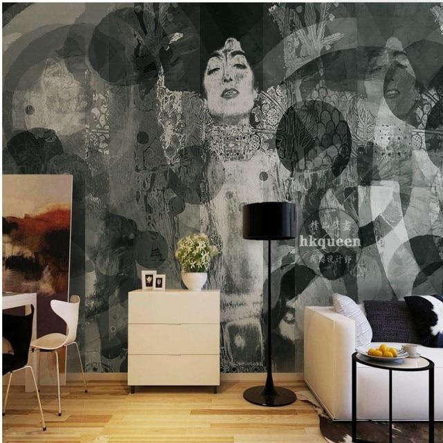 3d fototapete schwarz wei handbemalt japanische geisha abstrakte malerei hintergrund wand. Black Bedroom Furniture Sets. Home Design Ideas