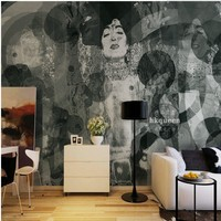 Free Shipping Black White Hand Painted Japanese Geisha Abstract Painting Background Wall Living Room Custom Mural
