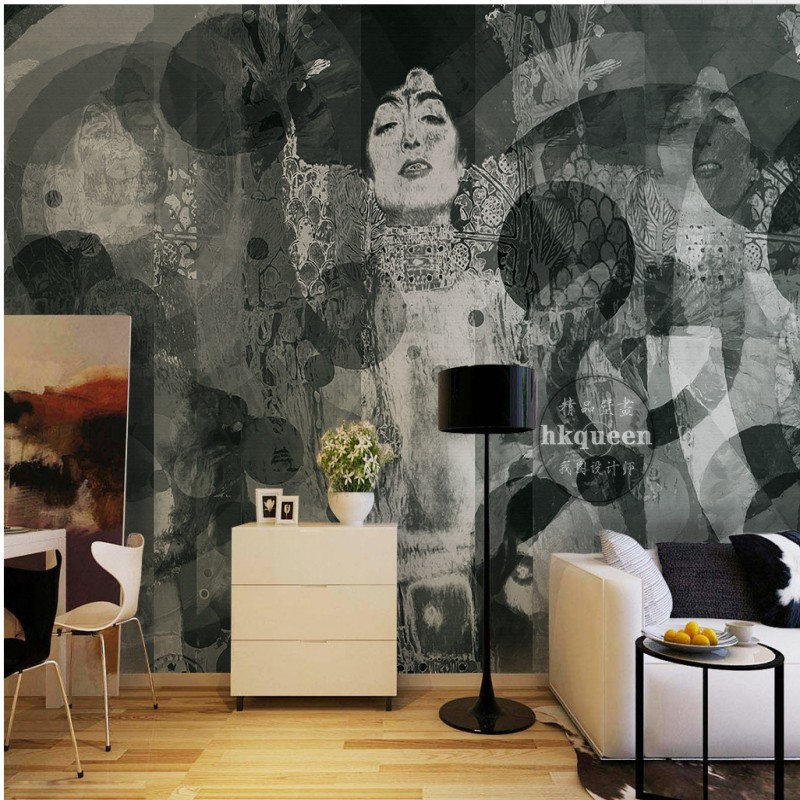 3D Photo Wallpaper Black White Hand Painted Japanese Geisha Abstract Painting Background Wall Living Room Custom Mural Wallpaper