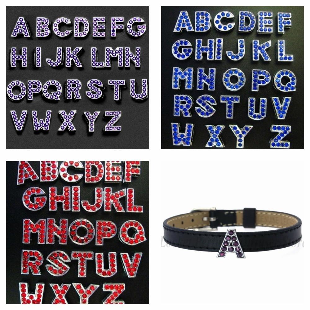 26pcs plain Slide letters 8mm slide charms lot Fit charm bracelets name collar