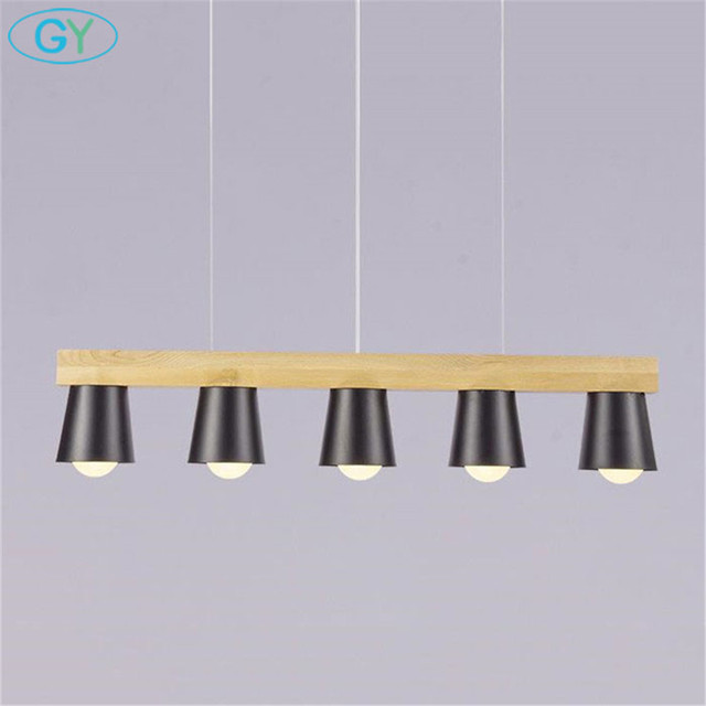 New Luster Wood Pendant Light Style Loft Black White Kitchen Island Lighting  Metal Dining Room Hanging